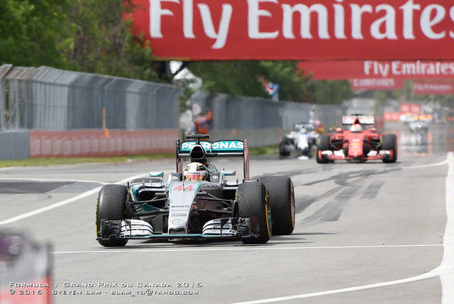 Hamilton enters the pits in Montreal